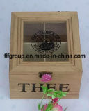 Natural Color Customized Clear Window Lid Wooden Box with Compartment