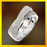 Extremely shiny micro pave set CZ Lady Fashion jewelry 925 Silver Sterling Silver Ring
