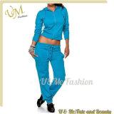 Cheap Wholesale Women Gym Suit Jogging Suit Tracksuit Set with Hood