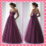 Strapless Evening Dress Maternity Gown Purple Prom Dress Bg016