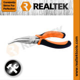 Professional Nickel-Plated Bent Nose Pliers with Bi-Color Dipped Handles