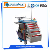 Emergency Trolley Medical Cart with Drawers with CPR Board / Oxygen Cylinder Holder (GT-TA2814)