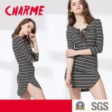 Ladies Fashion Slim Stripe V-Neck Bandage Tshirt