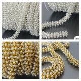 Wedding Garment Accessories Anti-Corn Pearl Chain Round ABS Pearl Cup Chain (SS28/6mm pearl white)