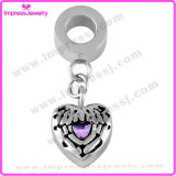 Heart Shape with Purple Crystal Necklace Charms for Ashes