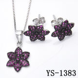 925 Silver Black Plated Pave Ruby Jewelry Set