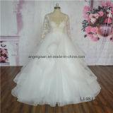 Sexy Champagne Lace Long Sleeve Wedding Dress Bridal