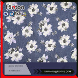 White Small Flower Printed 40 Oz Denim Fabric on Sale
