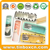 Rectangular Metal Stationery Tins with Clear Window Lid for Pencil Box
