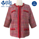 Red Jubilant Knitted Pockets Fashion Ladies Coat