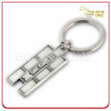 Customized Debossed Logo Sliver Plated Metal Keyring
