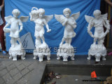 White Marble Stone Angel Sculptures for Garden Decoration