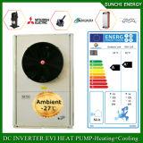 Slovakia/Lativa -25c Winter Floor House Heating+55c Hot Water 12kw/19kw/35kw Air Source Heat Pump with Solar Heater Evi Cop 5