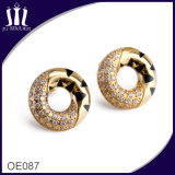 CNC Micro Inlay Zircon Elegant Circle Leopard Earrings