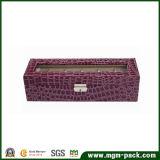 Plush Purple Rectangle Wood Watch Box