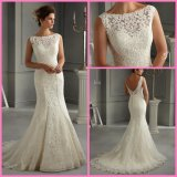 Lace Bridal Gown Vestidos Boat Neck Mermaid Wedding Dress Mrl2016