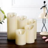 Battery Operated Flameless LED Real Wax Pillar Candle with Timer for Home Party Decor