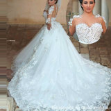 Sheer Long Sleeves Bridal Ball Gown Tulle Lace Puffy Arabic Wedding Dress G1705