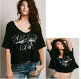 Hot Sale New Design Women Tops Ladies Cotton Black T-Shirt