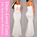 New Arrive Chiffon White Long Evening Wedding Elegant Gown
