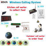 Chef Call Waiter Equipment Wireless Transmitter with Display Receiver and Call Button