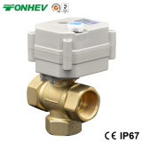 3/4′′ 3-Way Vertical T Type Motorized Brass Ball Valve for Solar Heating