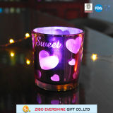 Hot Sale Double Wall Flat Glass Candle Holder