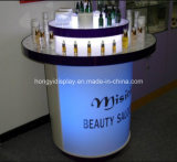 Cosmetic Round Acrylic Display Table with LED Light