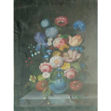 Victorian Floral Still Life Oil Painting Flowers Wood Frame (LH-219000)