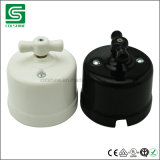 Antiquated Vintage Rotary Porcelain Ceramic Switch and Socket