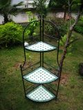 3-Tier Iron Mosaic Corner Shelf