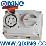 IP44 16A 5p Socket with Switches and Mechanical Omterlock (QX7276)