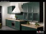 2015welbom Simple Design Green Wood Kitchen Cabinet