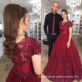 Short Sleeves Evening Gown Red Lace Pageant Prom Dresses T21486