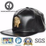2017 High Quality Gold Badge Fashion Black Leather Snapback Cap