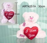 Pink Plush Bear Carrying Red Heart-Valentine Gift