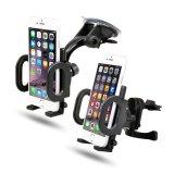 2-in-1 Secure Phone GPS Padded, Adjustable Grips Mobile Phone Car Mount Holder