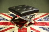 Vintage Leather Ottoman with Stainless Steel