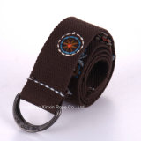 Retro Adjustable Double-Ring Buckle Weaving Jacquard Belt for Gift