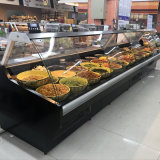 Curved Glass Refrigerated Bakery Deli Meat Display Cold Case