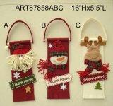 Santa Snowman Reindeer Doorknob Christmas Decoration, 3asst
