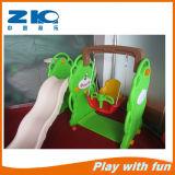 Indoor Playground Bear Plastic Slide and Swing Set for Kids