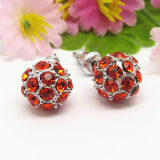 Wholesale 3D Red Crystal Ball Shaped Ears Stud