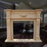 Good Quality Simple Partten White and Yellow of Egypt Marble Fireplace Sculpture T-6389