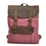 Full Grain Leather Handbag Double Straps Shoulder Laptop Canvas Backpack Bag (RS-2166)