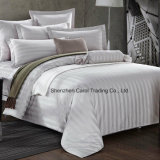 100% Cotton Bleached White Striped Luxury Hotel Bedding Set