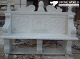 Yellow Marble Carved Garden Bench with Lion Head