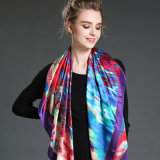 Digital Printing Large Silk Square Scarf Shawl