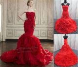 Red Wedding Dress Organza Fabric Bridal Dress