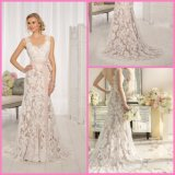 Sleeveless Lace Bridal Gowns Champagne Lining Mermaid Wedding Dresses B34